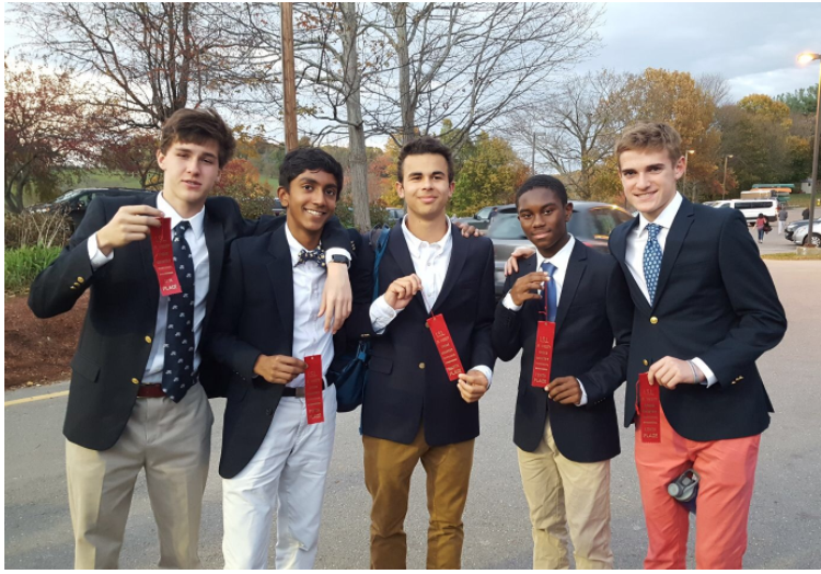 From left to right: Connor Browder '19, Rick Sarkar '19, Henry Butterfield '18, Kareem Chambers '19, and myself after the ISL Championship race. All 5 placed in the top 11 in a race with 235 runners.
