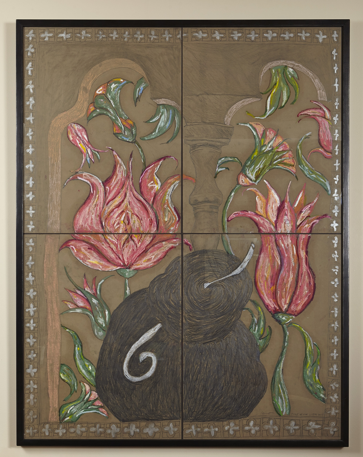 """Feast of the Lotus  Graphite and pastel on paper, Framed, 2014 (53 x 41"""") $4000.00"""