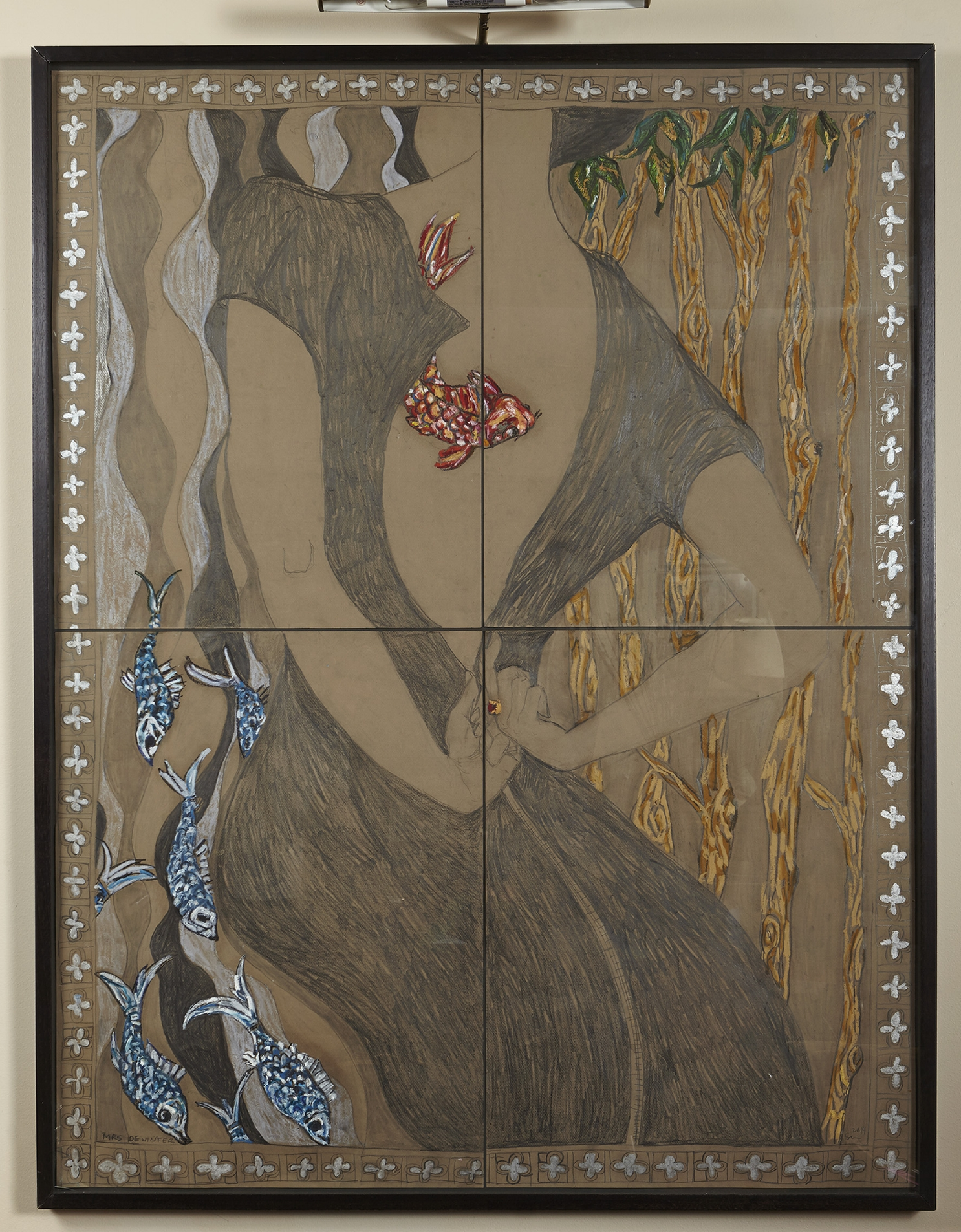"""Mrs. Diwinter  Graphite and pastel on paper, Framed, 2014 (53 x 41"""") $4000.00"""