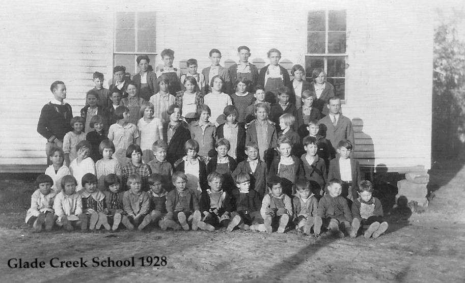 Glade Creek School - 1928. Photo courtesy of Zdenka Zizka Lockwood.