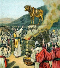 Worshiping_the_golden_calf Bible illustration 1901 Providence Lithograph Company.jpg