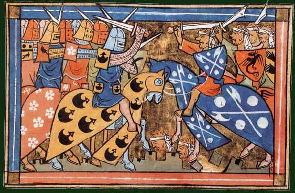 A battle of the  Second Crusade  (illustration of  William of Tyre 's  Histoire d'Outremer , 1337) - Wikipedia Crusades