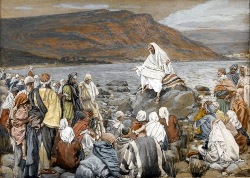 """""""Jesus Teaches the People by the Sea"""", a painting by  James Tissot , c. 1890 ( Wikipedia )"""