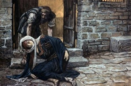 The Levite finds his concubine lying on the doorstep,  James Tissot