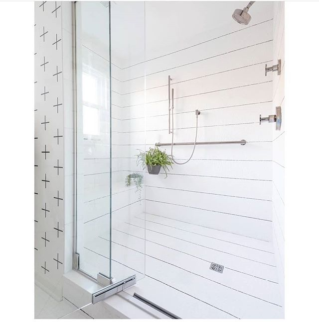 We wanna be like @mrsparanjape when we grow up! I mean.... look at this shower! That's custom made shower tiles, lookin' like wood siding in there!! So beautiful... this stripe lover is drooling over here. P.s. that's her amazing wallpaper over there looking gorgeous on the wall!
