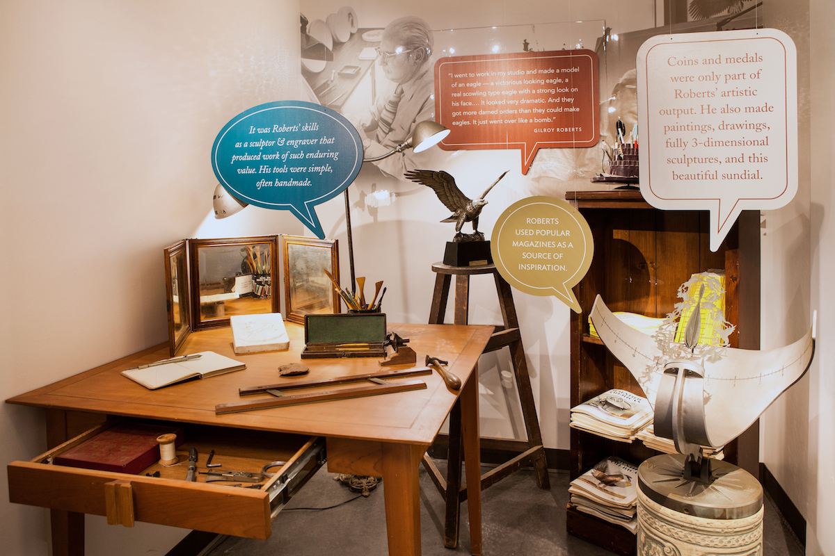A diorama at CCP depicts the artist workspace of Gilroy Roberts, designer of the Kennedy Half Dollar.