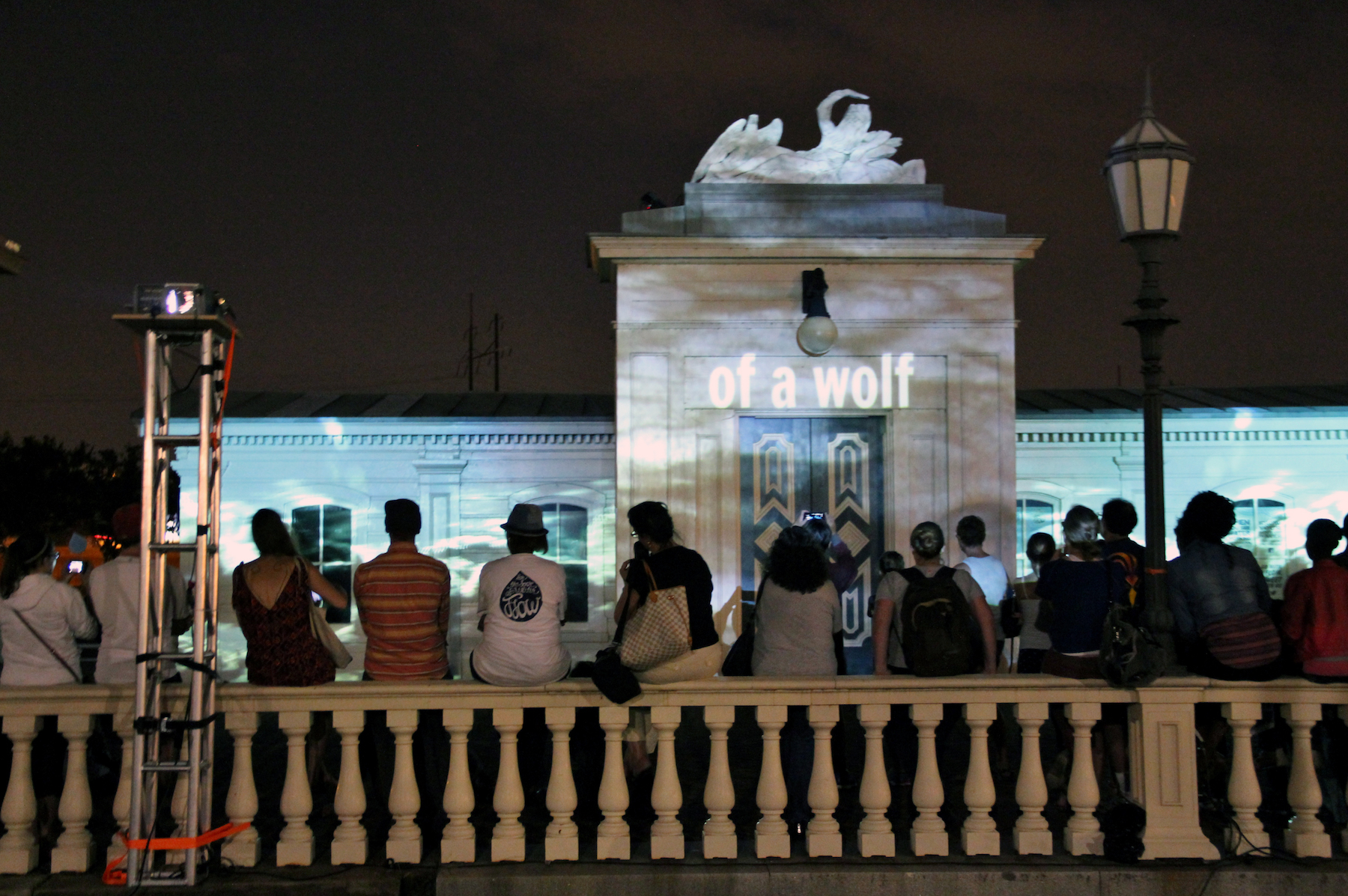 "An audience before ""The Curious Flow of Water,"" an architectural projection on Philadelphia's iconic Fairmount Water Works facade. A collaboration with Greenhouse Media."