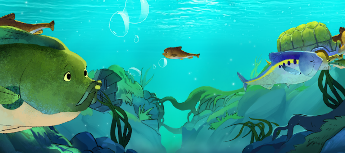 "Wildlife populating the illustrated underwater world in ""Mussels in the Wild,"" an animated film and storybook about the lifecycle of freshwater mussels. Illustration by Magnopus."
