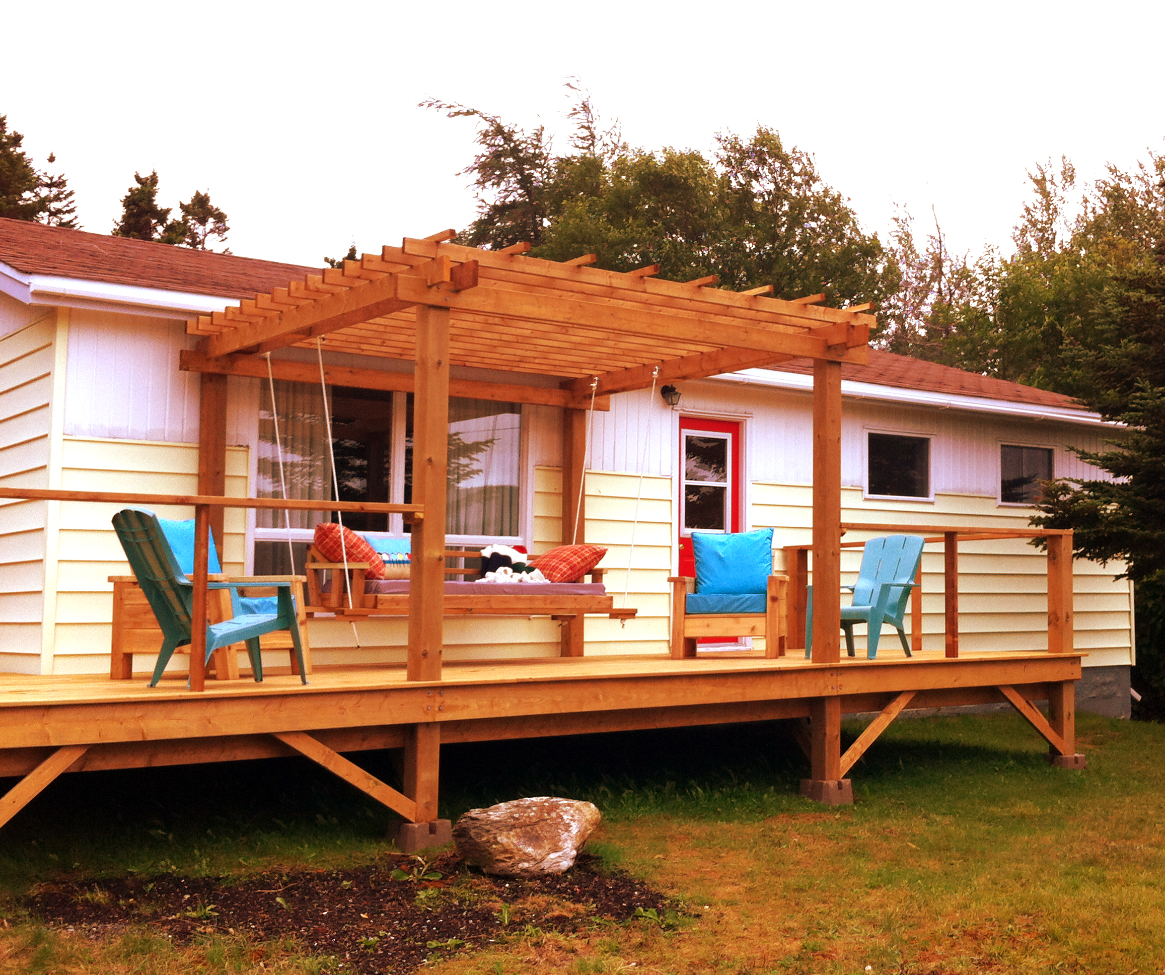 - Deck, Chairs, Day Bed and Pergola.