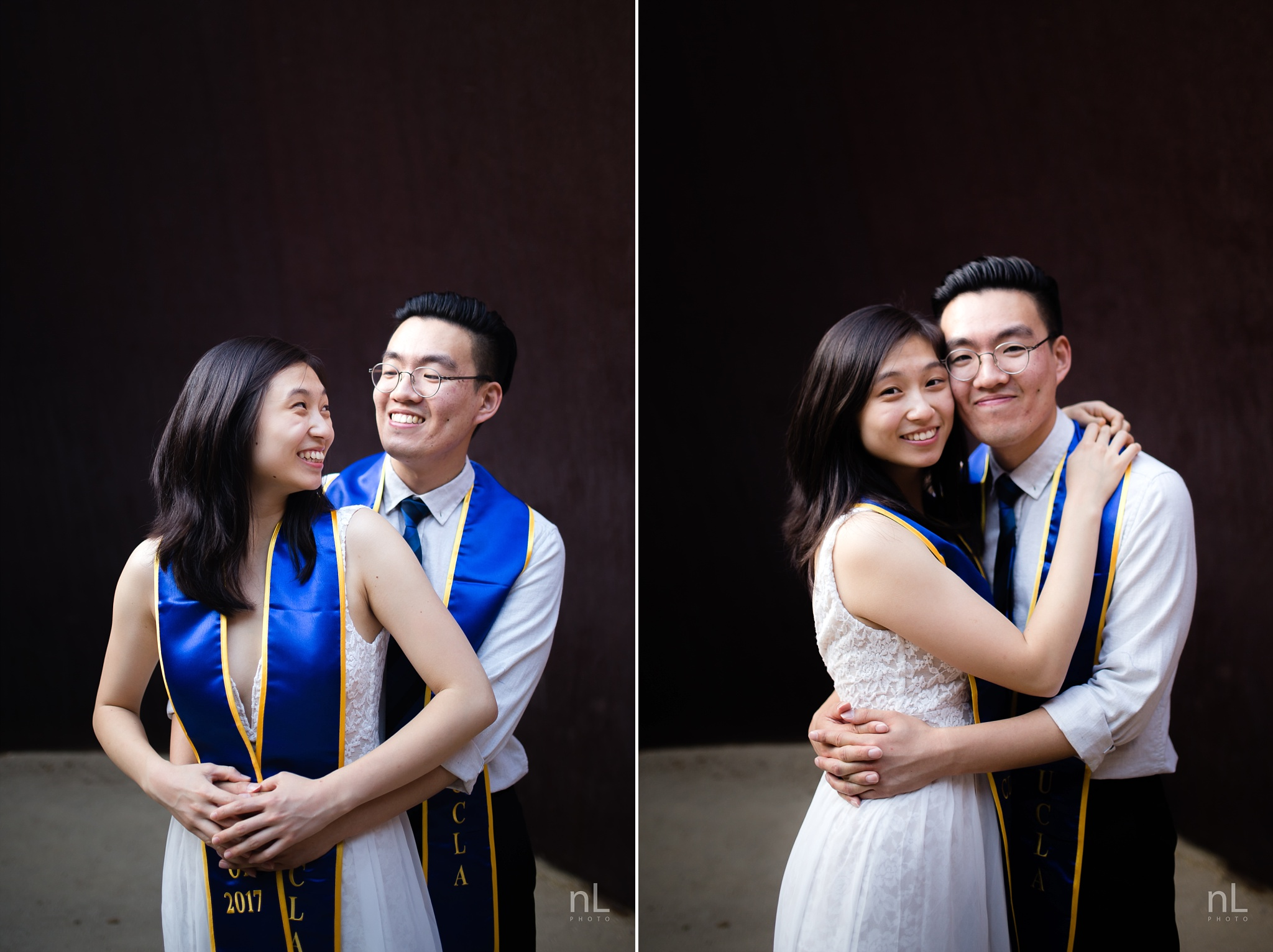 los angeles ucla senior graduation portrait cute couple smiling and hugging in love