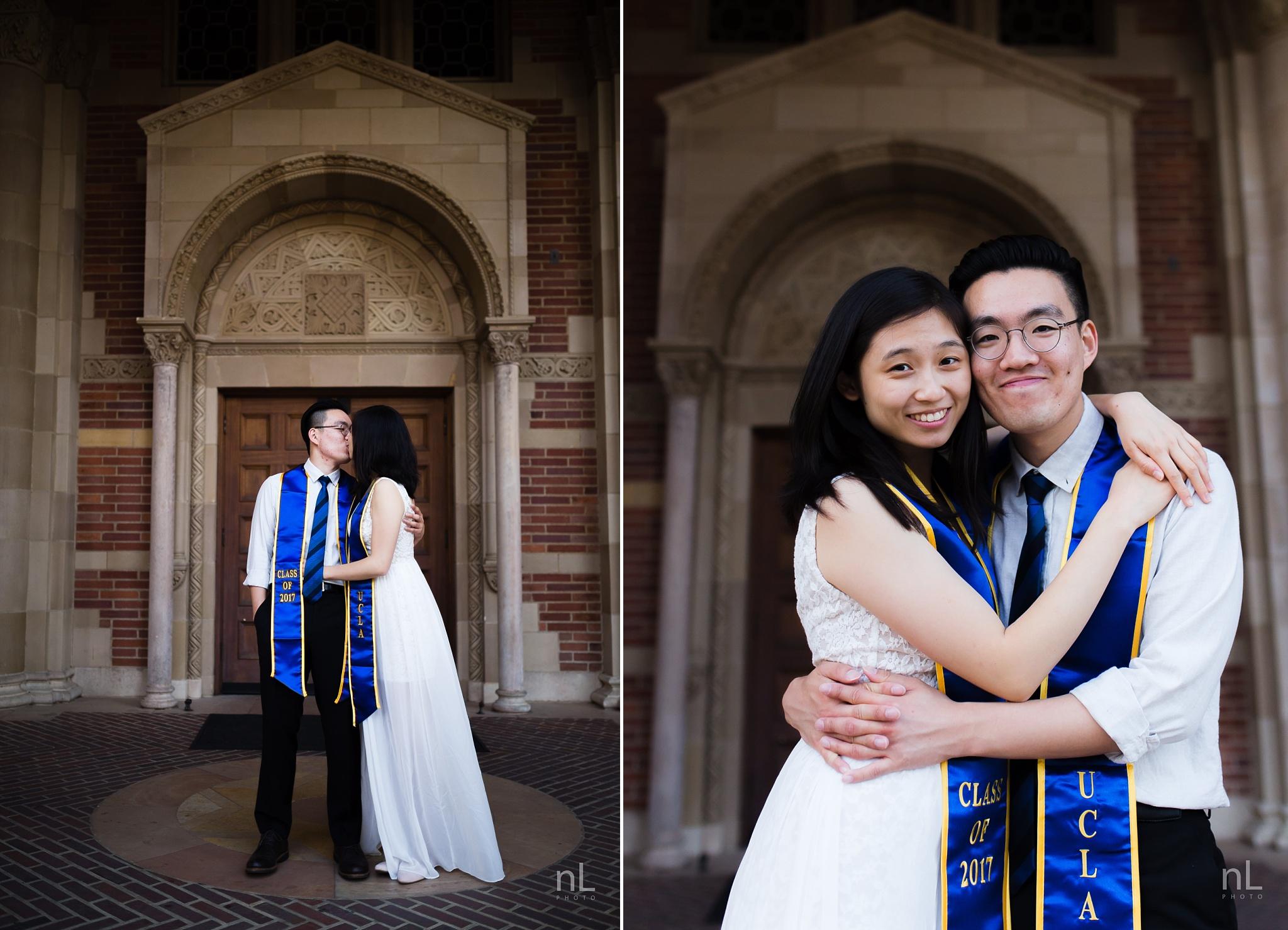 los angeles ucla senior graduation portrait cute couple hugging at royce hall