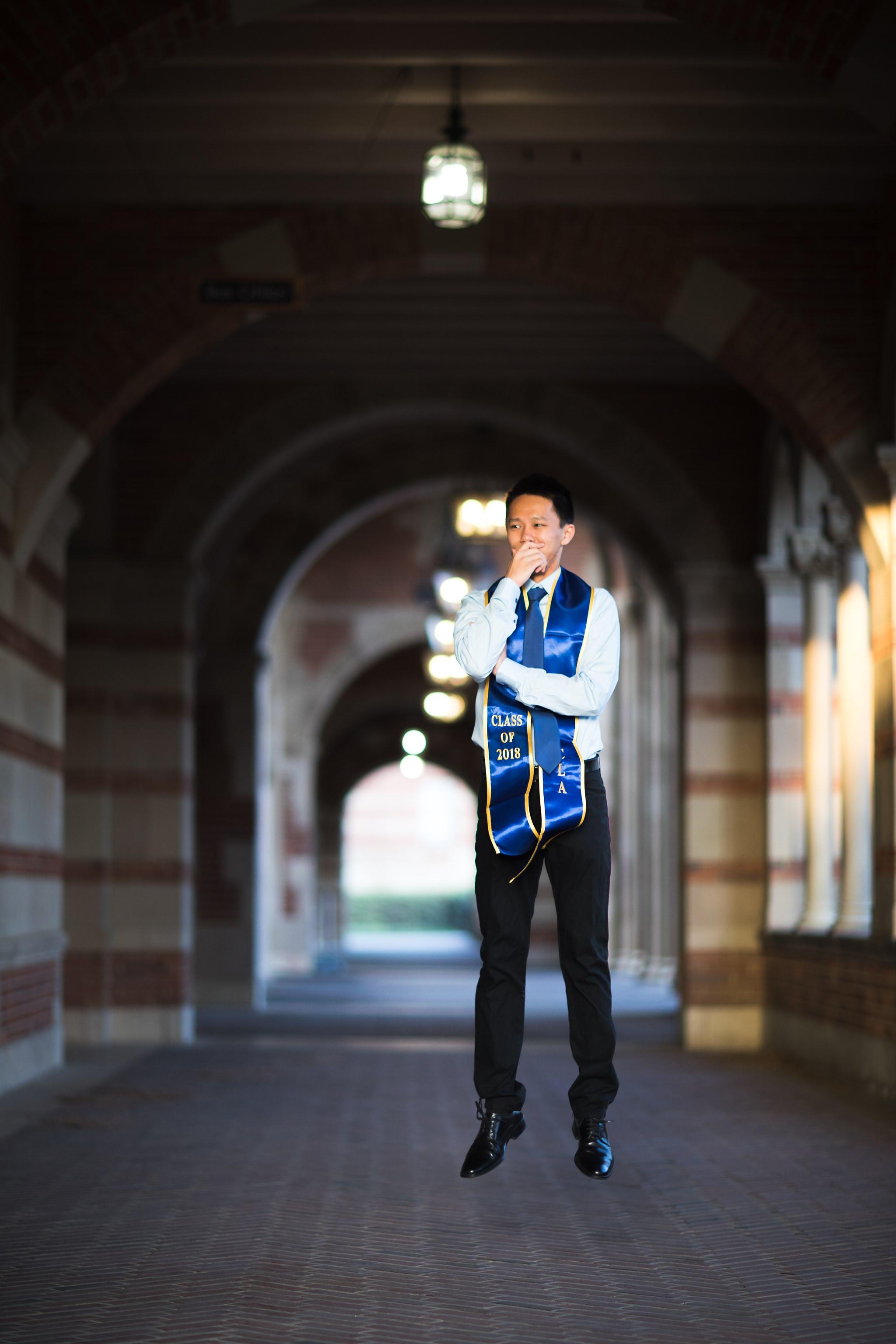 los-angeles-ucla-senior-graduation-portraits-royce-hall-arches-jumping
