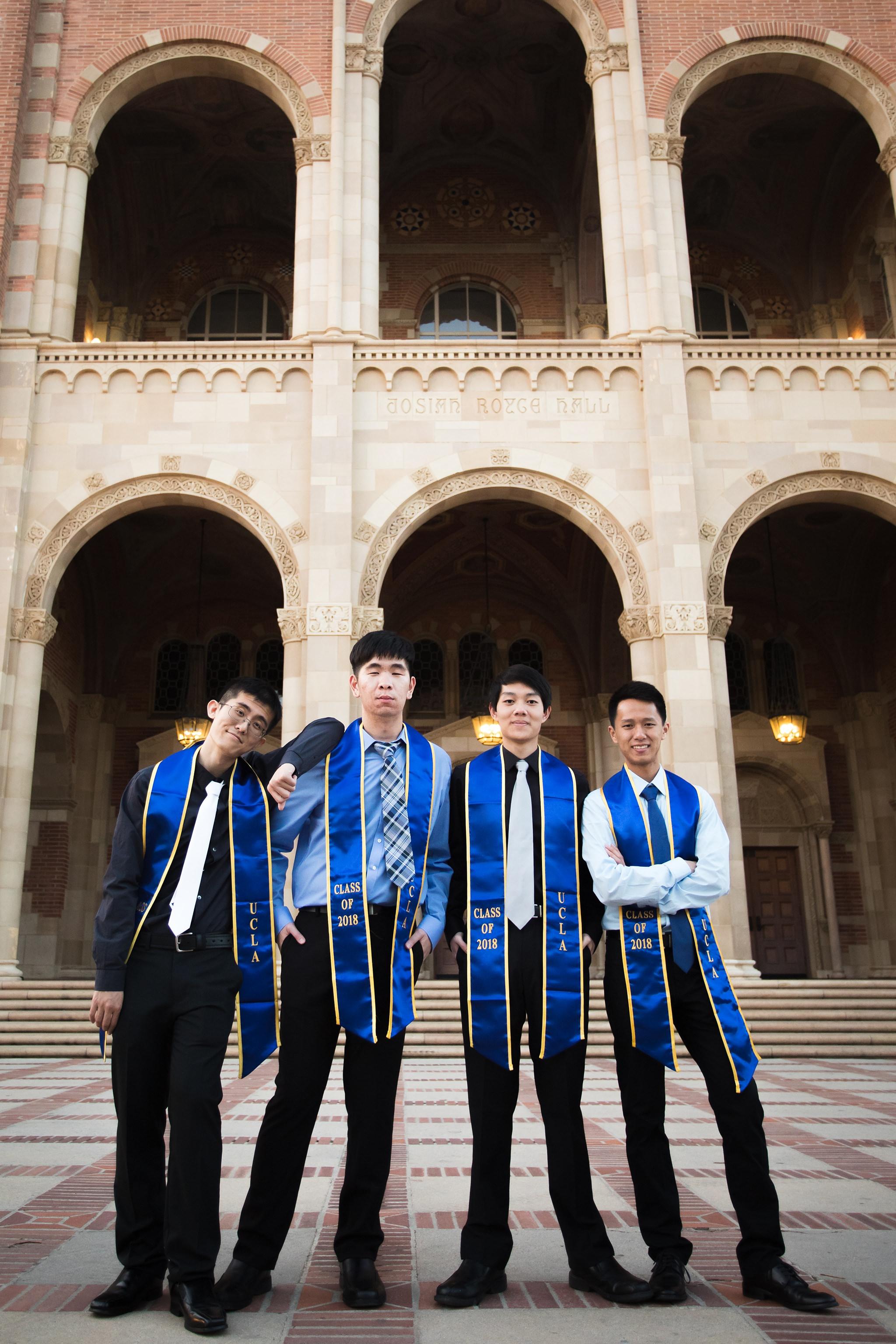 los-angeles-ucla-senior-graduation-portraits-friends-at-royce-hall-epic-environmental-photo