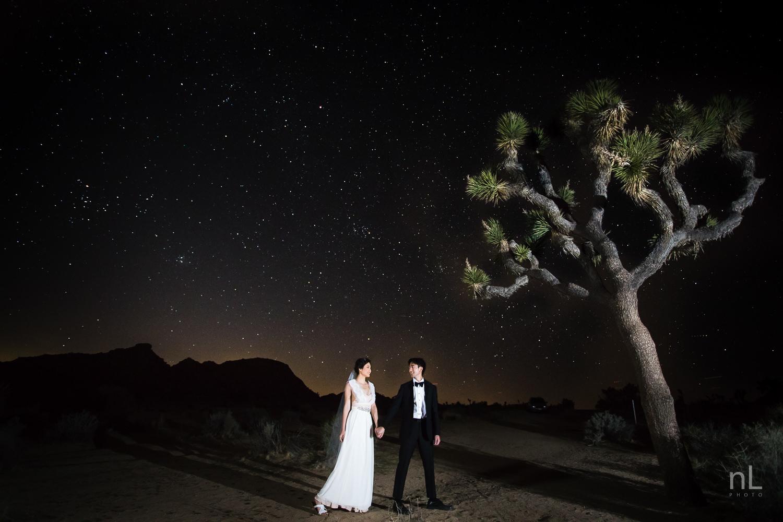 joshua-tree-engagement-wedding-elopement-photography-stylized-photoshoot-epic-environmental-portrait-bride-and-groom-astrophotography
