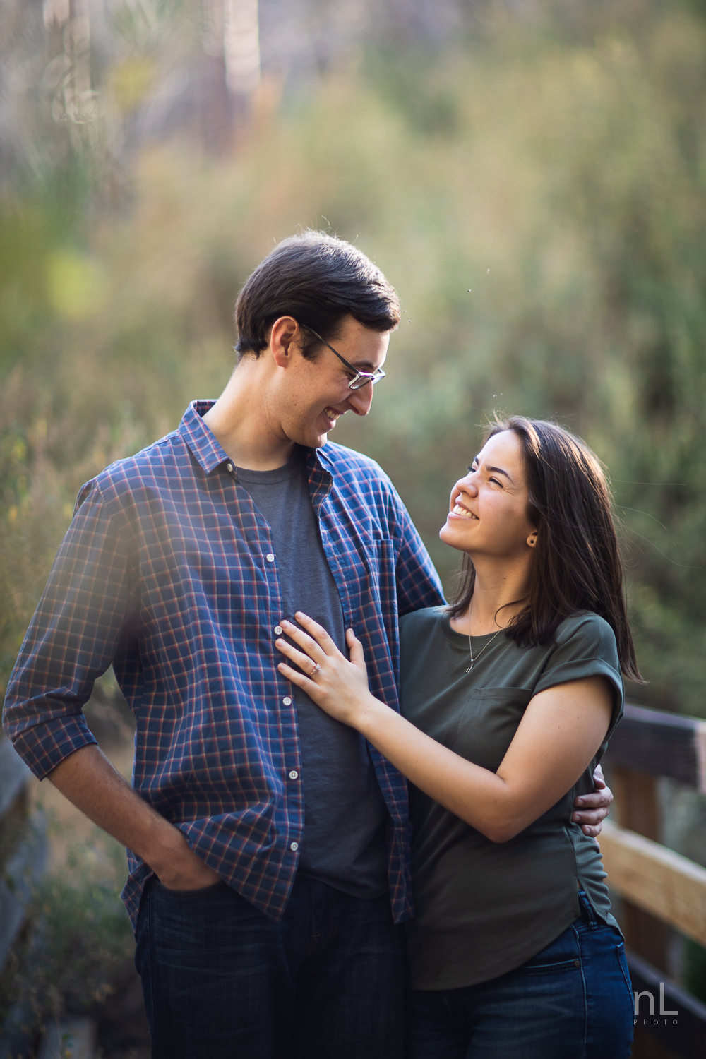 los-angeles-national-forest-engagement-photography-trees-couple-bokeh-smiling