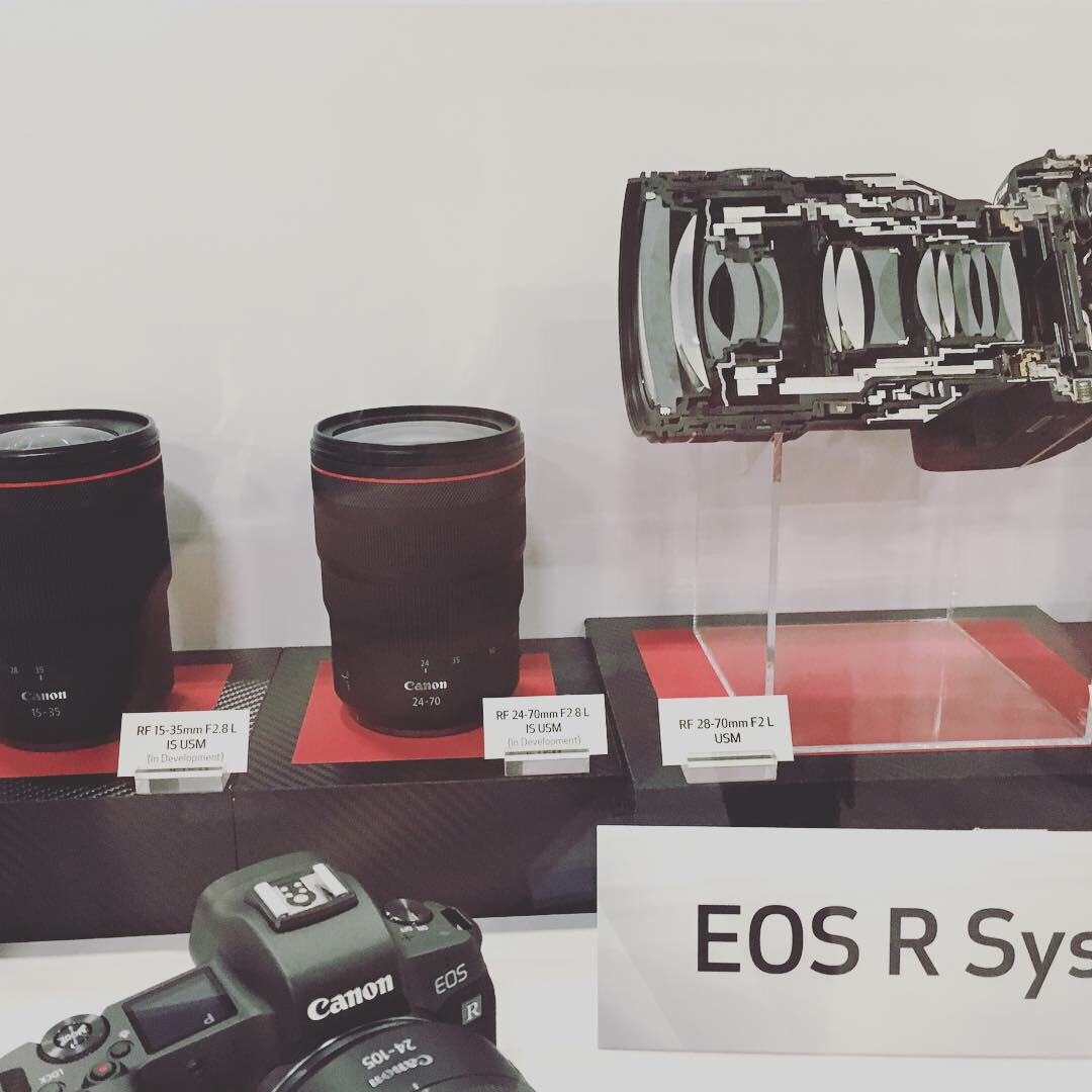 Canon brought display prototypes of 5 new lenses they announced in early February! Excited to see where they're going with the new EOS R system - look how small those lenses are!