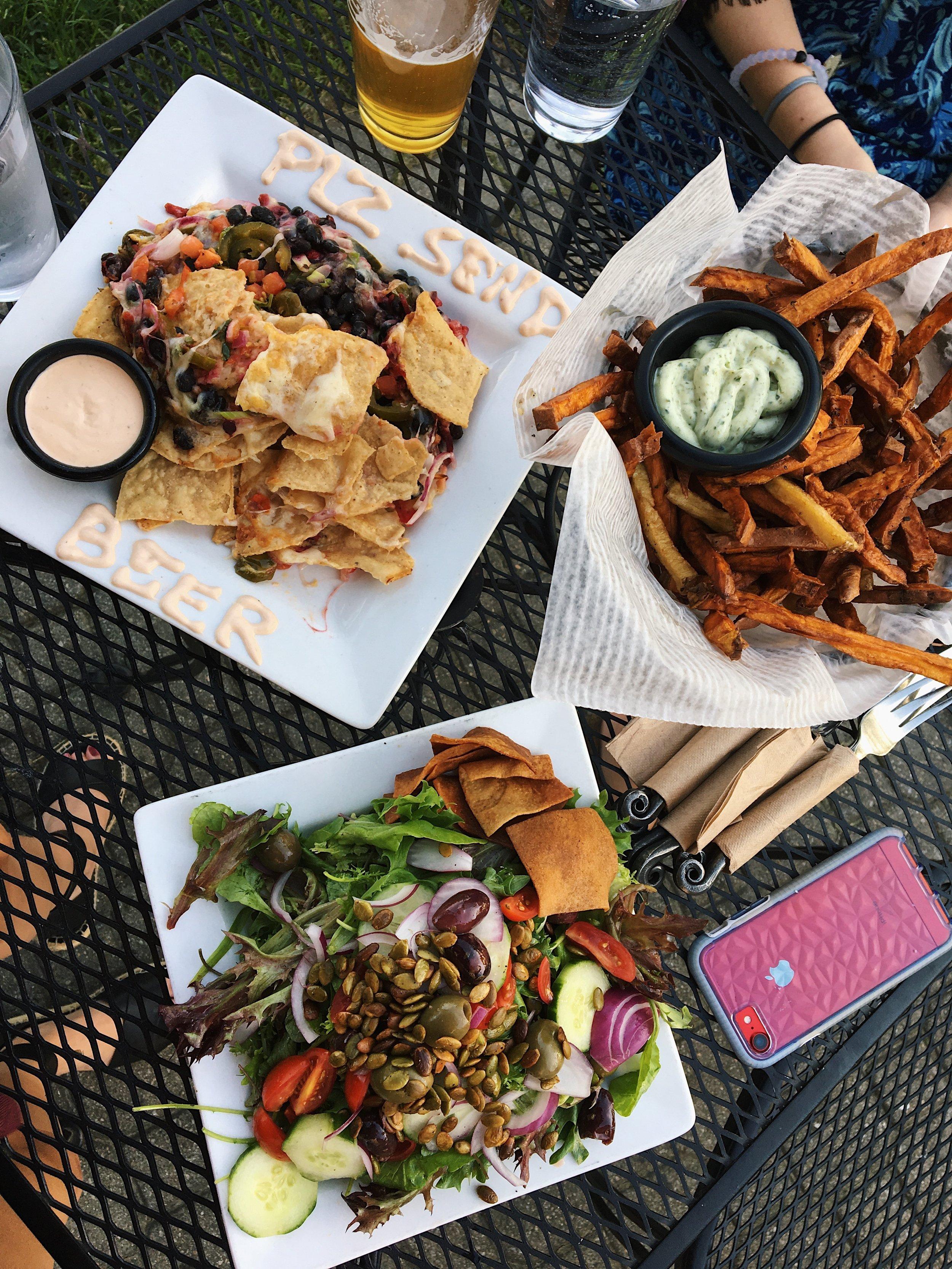 Greek Salad, Sweet Potato Fries, Nachos- Skinny Pancake