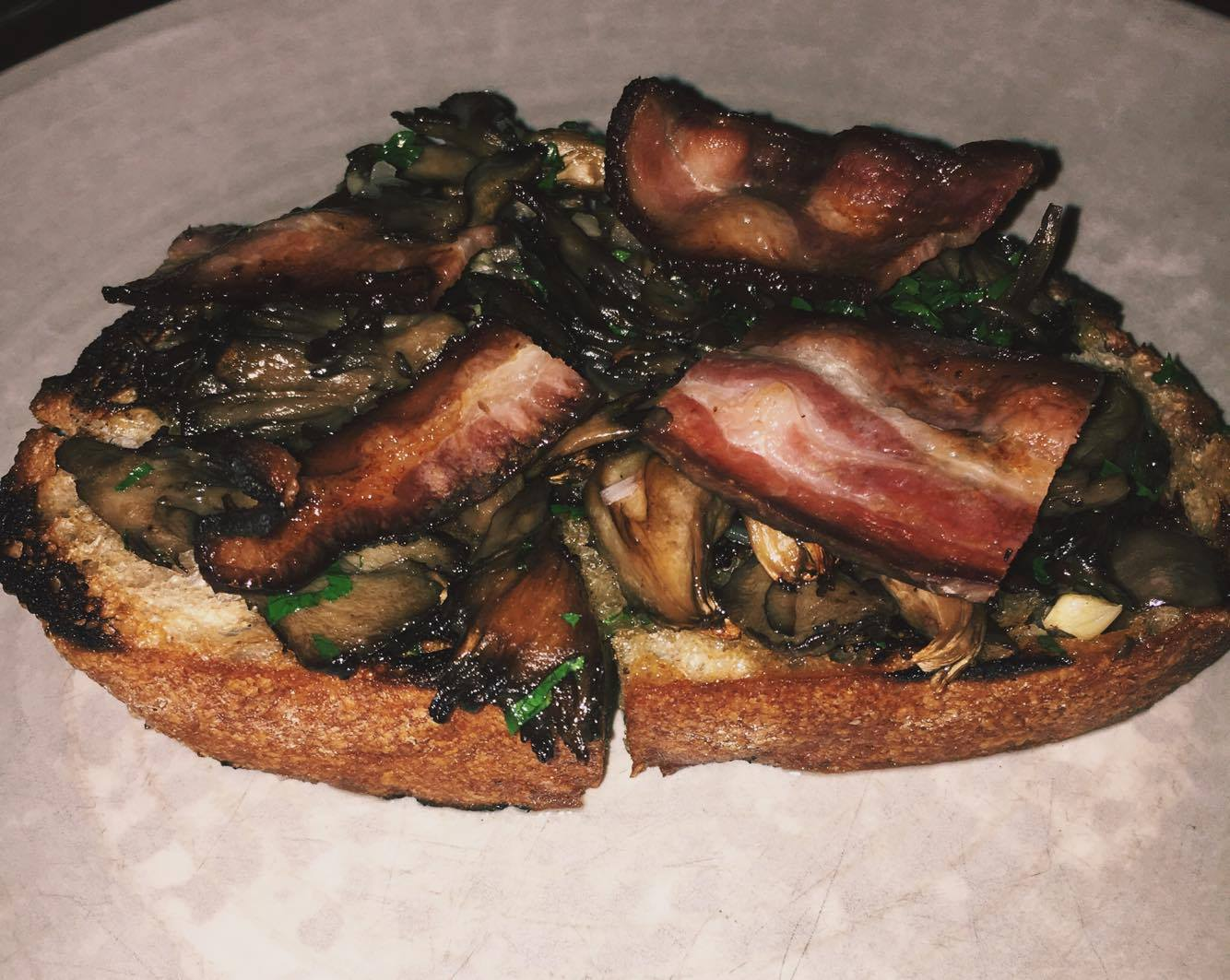 Hen of the Wood Toast with House Cured Bacon - Hen of the Wood