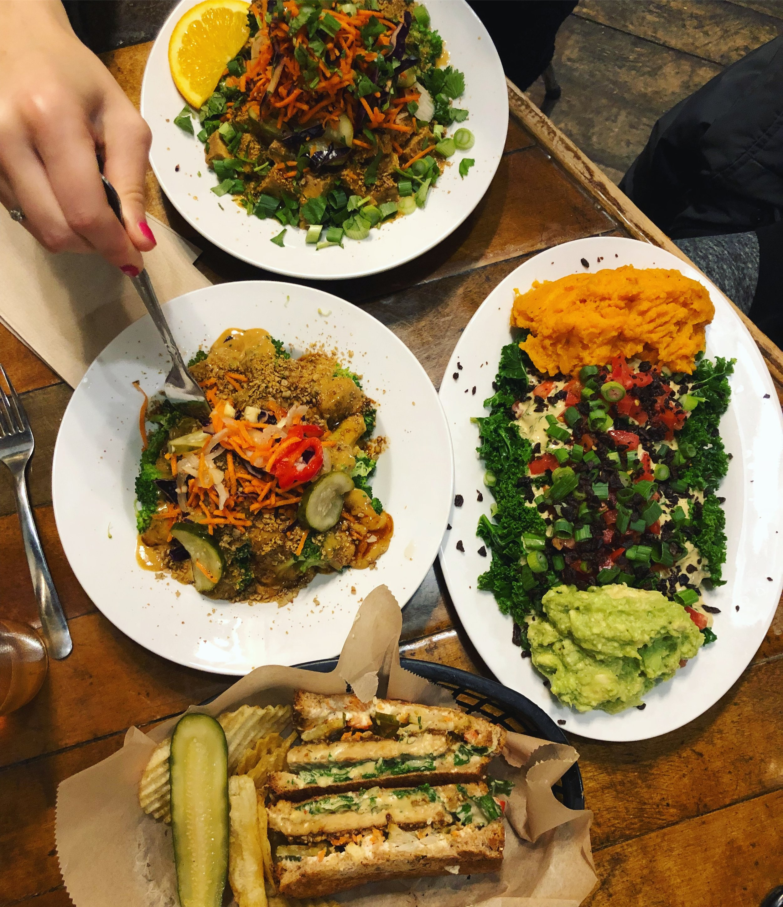 Brocc Bites, Food Truck Ruben, Kale Salad with Sweet Potato and Avo, and the Buddha-ful bowl