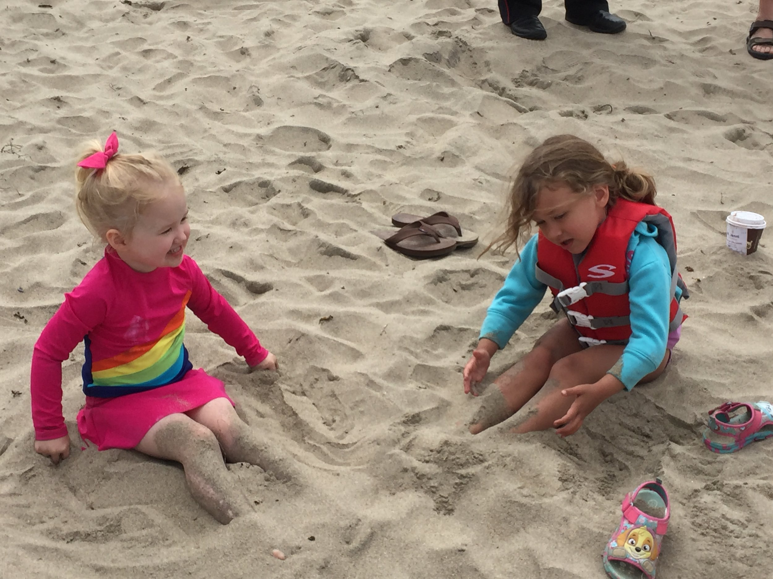 We got to go to Santa Cruz with Liz, Katherine and Jenni Sanders! It was soo much fun! A little cold in the water but we had fun digging in the sand too. Maia even made a nest for a piece of driftwood that looked just like Captain Cook from Mr. Popper's Penguins!