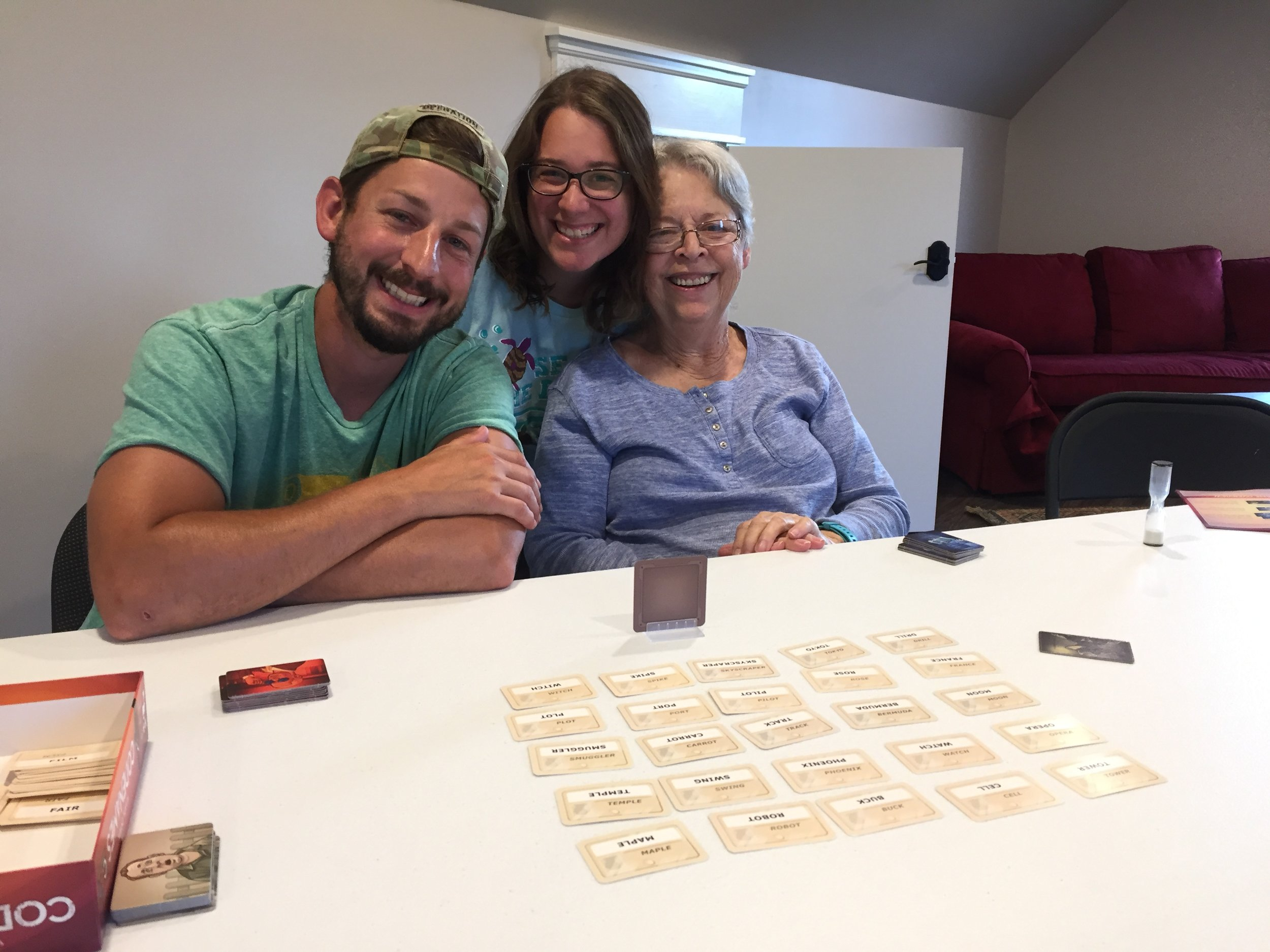Ann and John got us addicted to codenames, so I had to get it and teach it to J and Mom =)