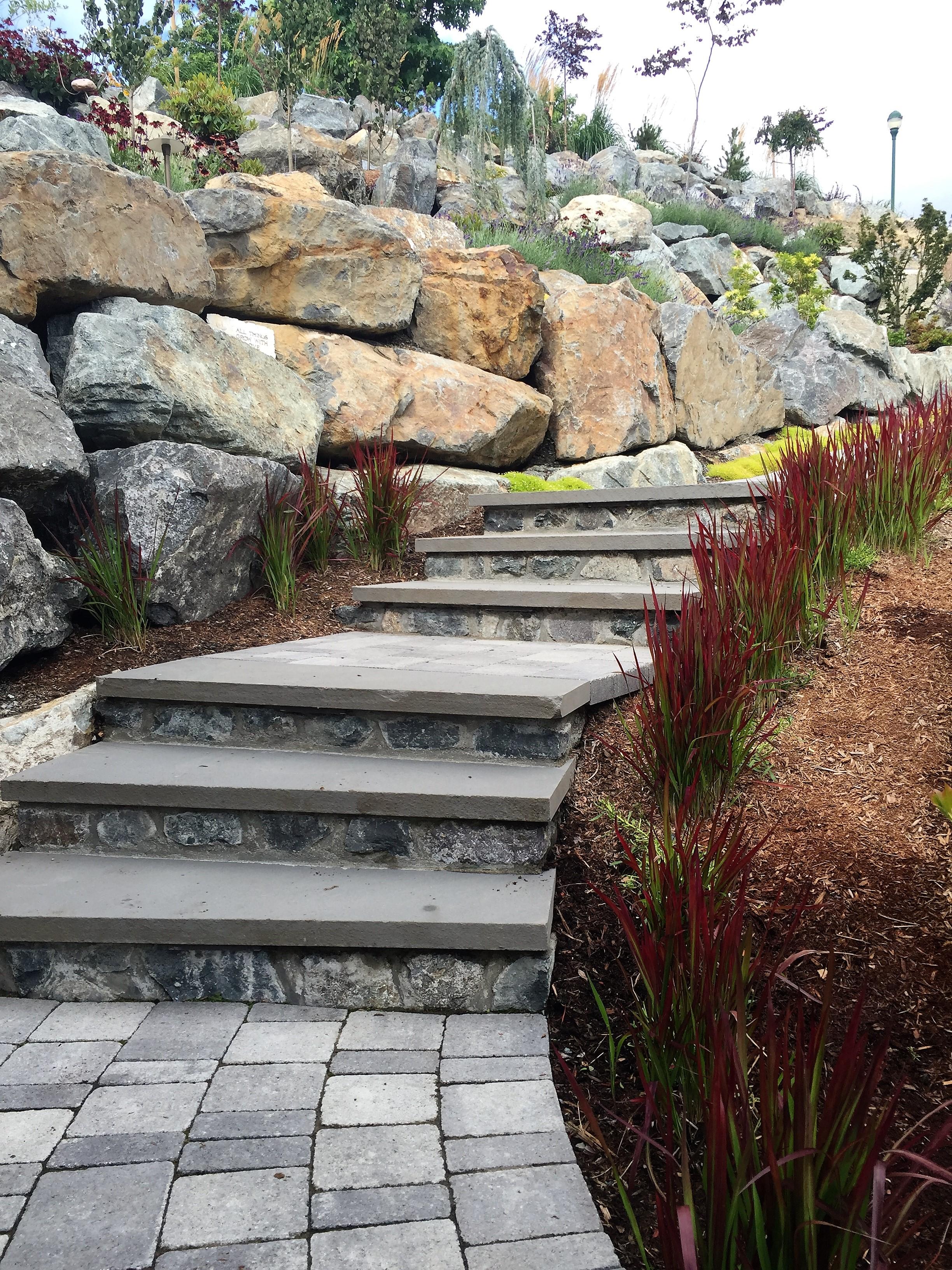 MustangLandscape-BC-Victoria-Garden- stone steps-Japanesebloodgrass.jpg