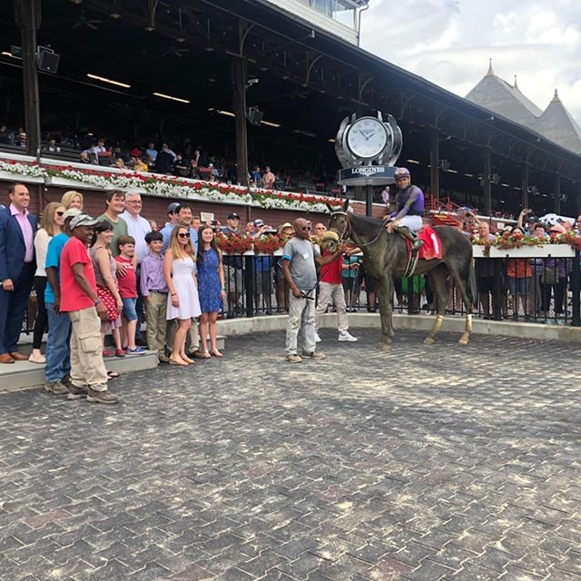 Congrats and thank you to the team and great connections that made our first win at Saratoga possible!! Third race Lucky Move with a masterful ride by Joel Rosario gets the win! @tenstrikeracing