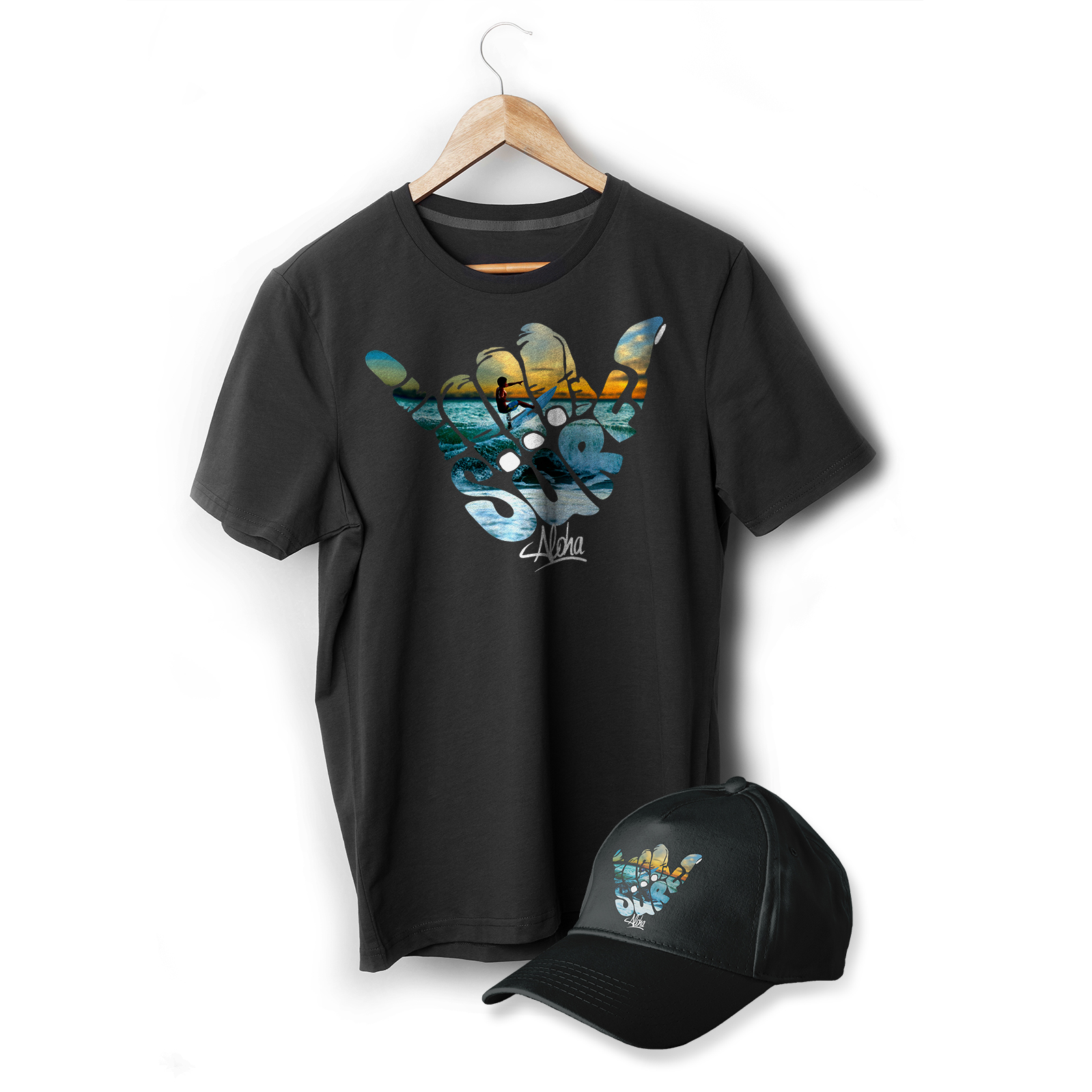 Aloha Surf T-Shirt and Cap Heat Transfer Print