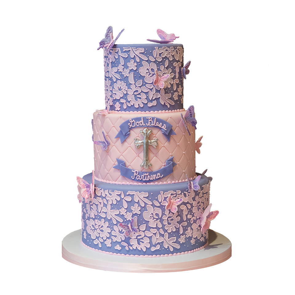 Pink and Purple Butterfly Baptism Cake