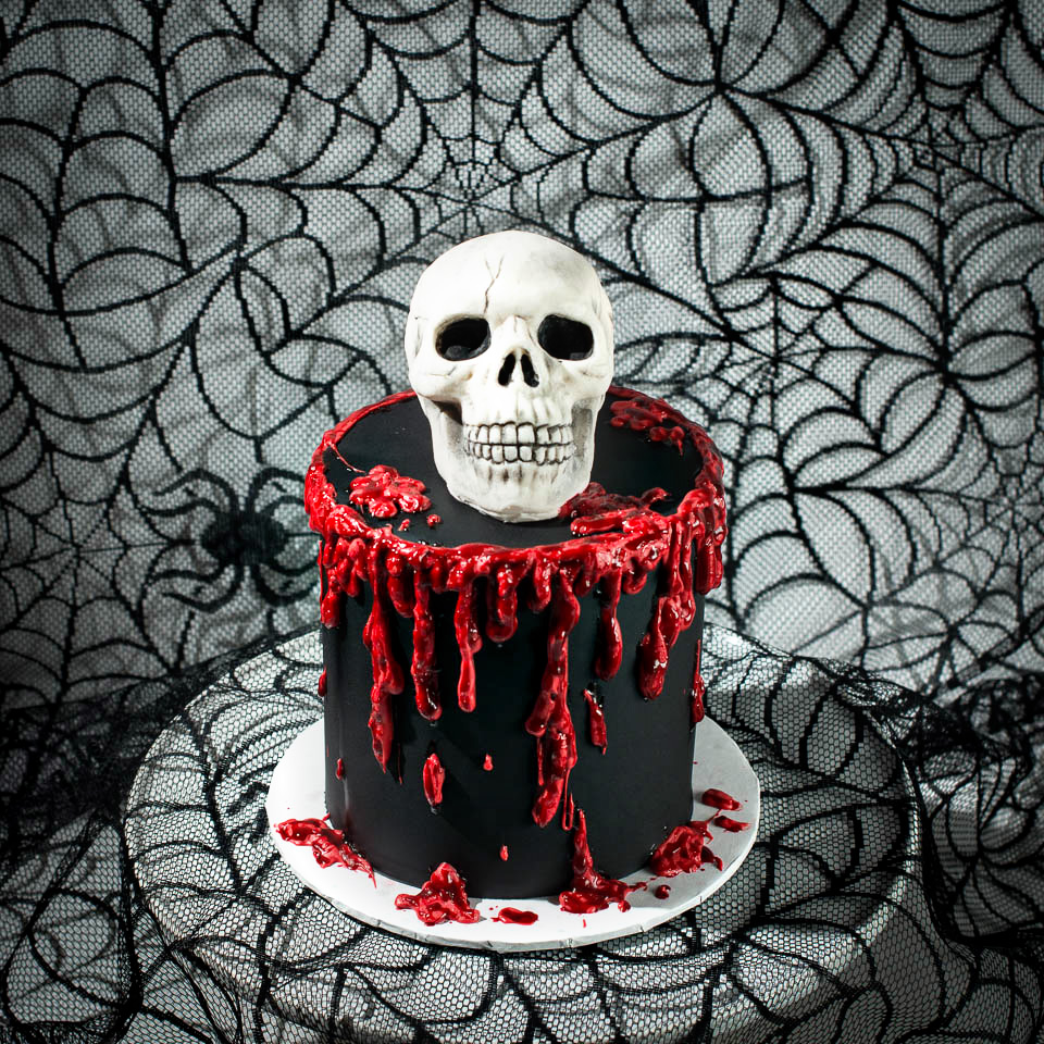 Skull and dripping blood halloween cake