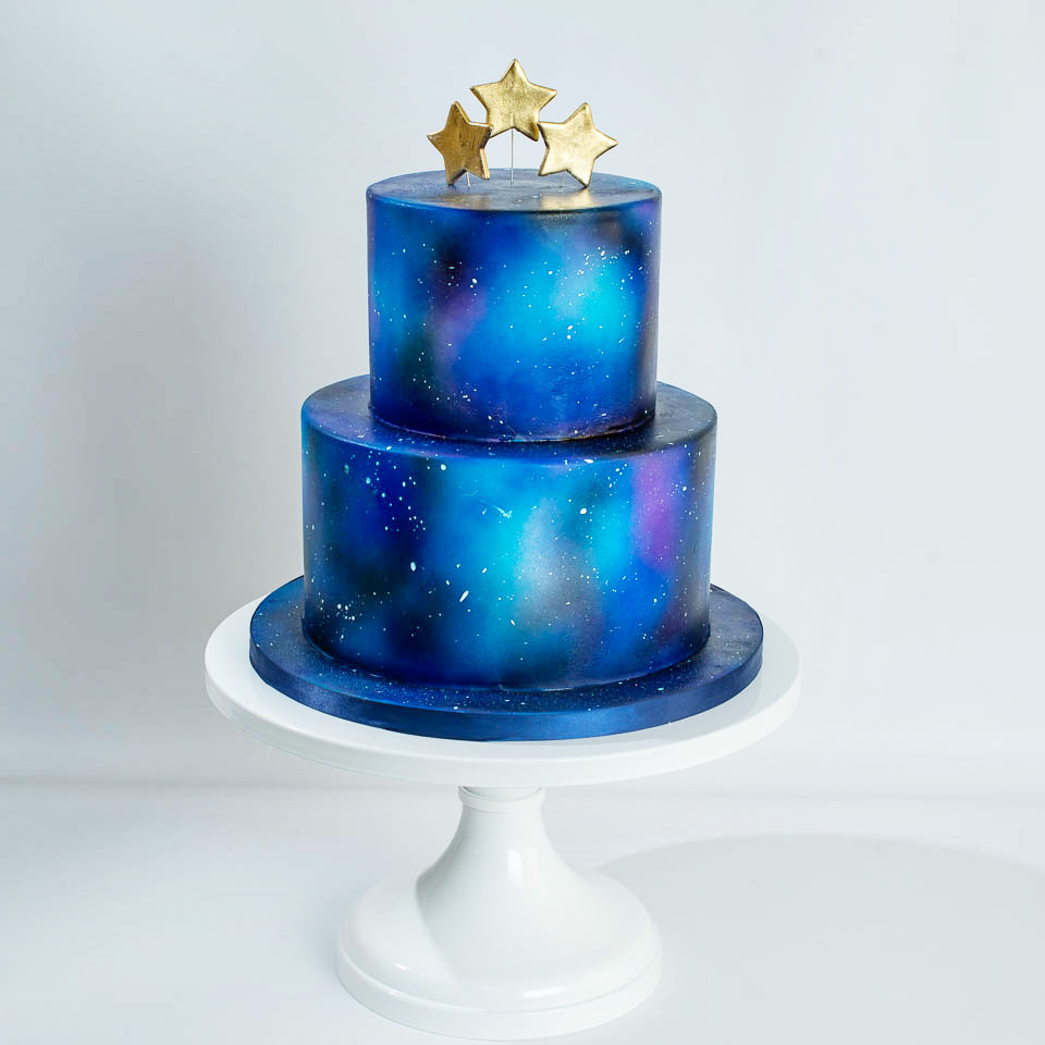 Starry Night Baby shower Cake