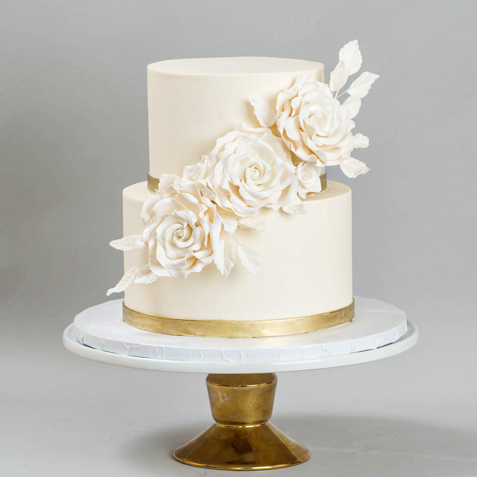 White and Gold Wedding Cake with White Sugar Roses