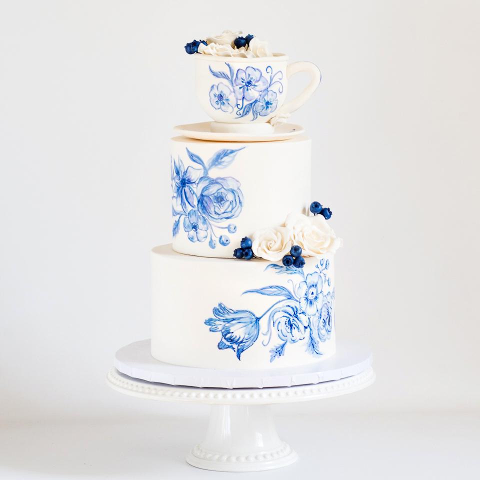 Vintage Teacup baby shower cake
