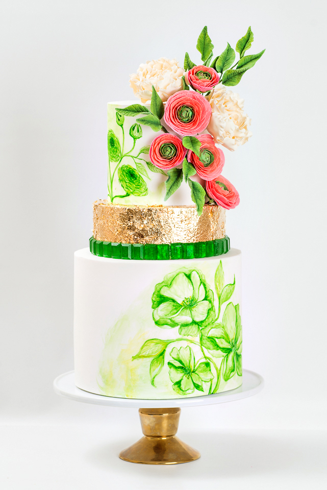 Emerald Green Wedding cake with sugar ranunculus and peonies