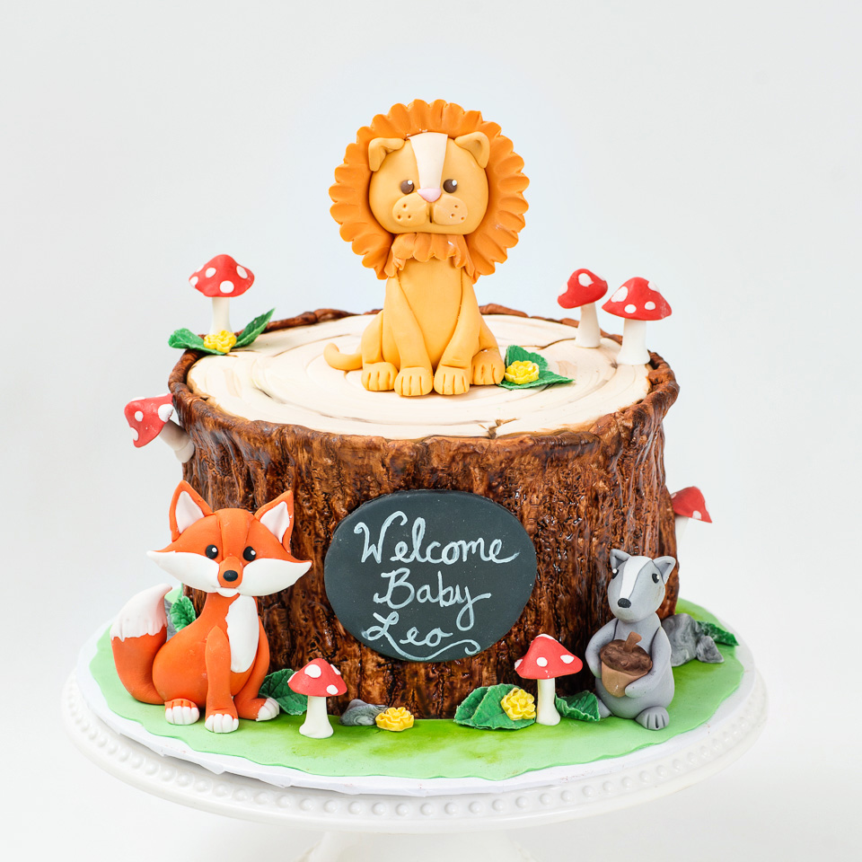 Tree Trunk woodland theme baby shower cake