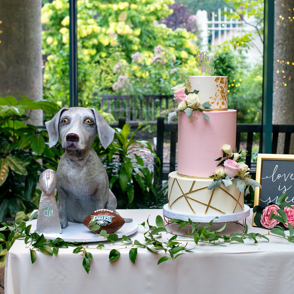 Dog Groom's Cake and Pink and Gold Geometric wedding cake with fresh flowers