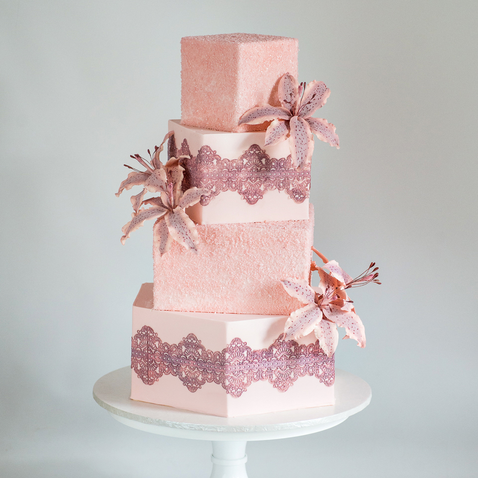 Dusty Rose Lace and Tiger Lilies Wedding Cake