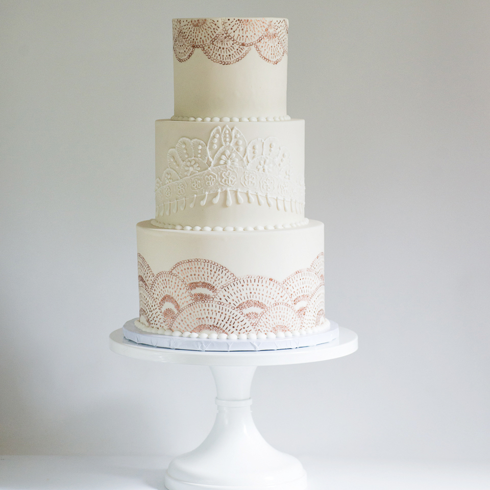 White and Rose Gold Scallop and Lace Wedding Cake