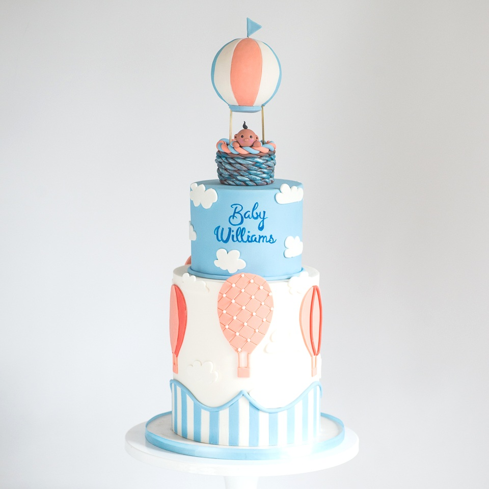 Baby Boy Hot Air Balloon Baby Shower Cake