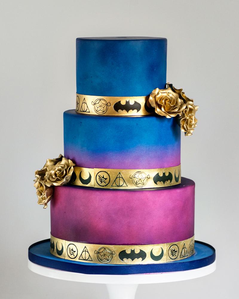 Nerdy and Elegant Wedding Cake