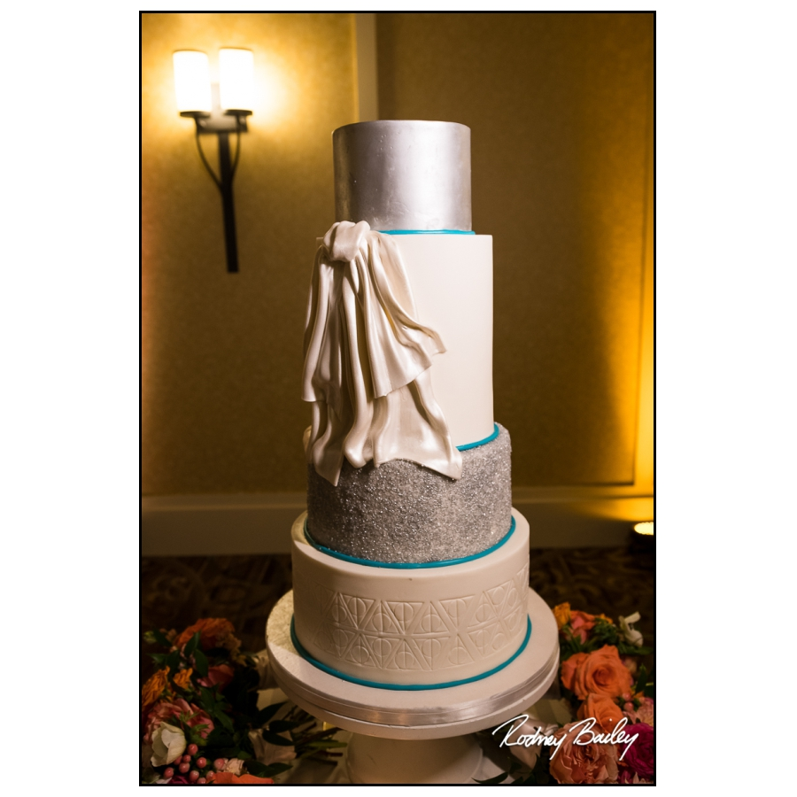 Teal and Silver Deathly Hallows Wedding Cake