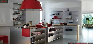 Modern Red Kitchen with white walls