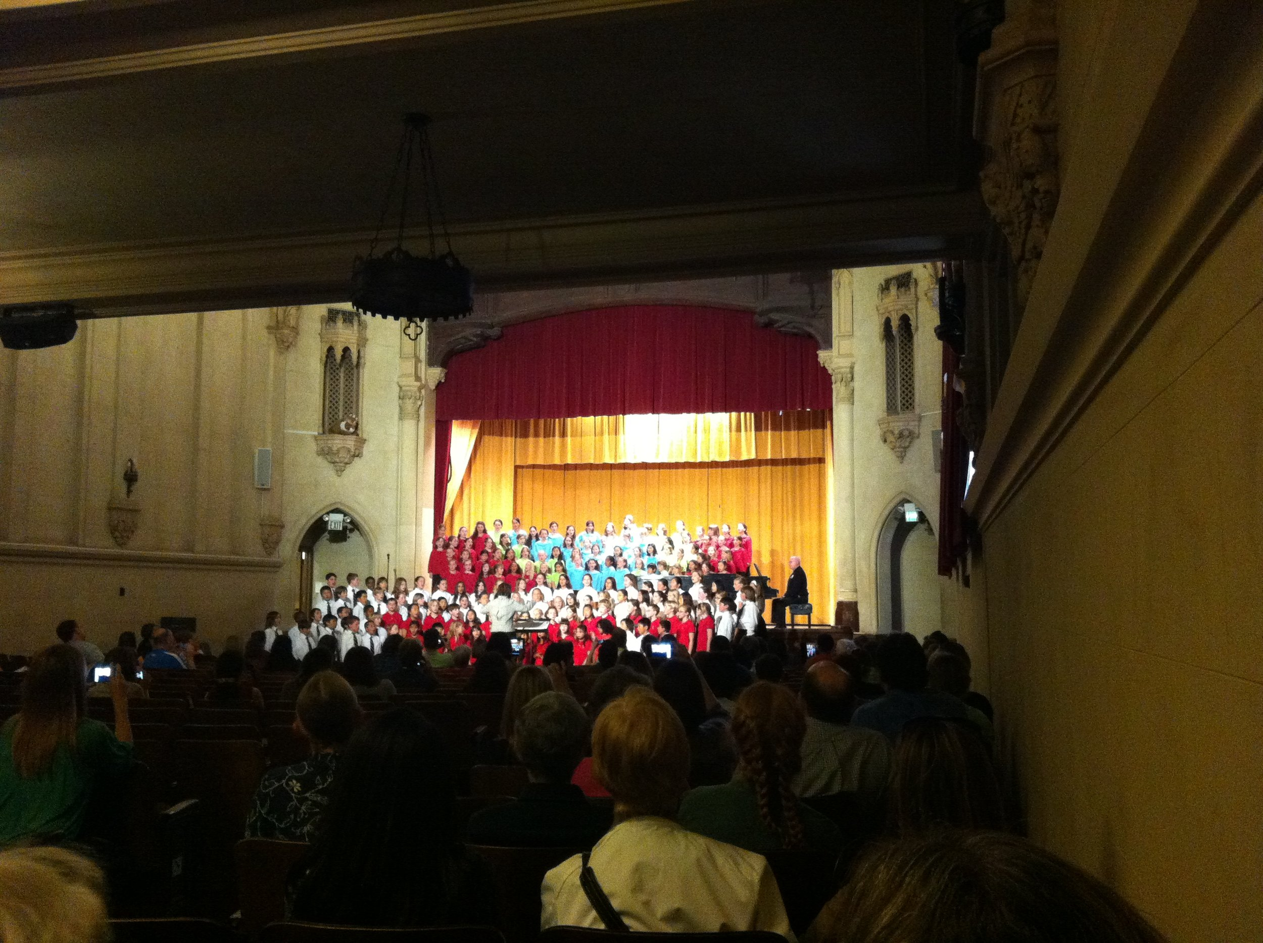 Margaret Clark   , clinician for the 2012 Children's Choral Festival, conducing a group performance at Holy Names High School .