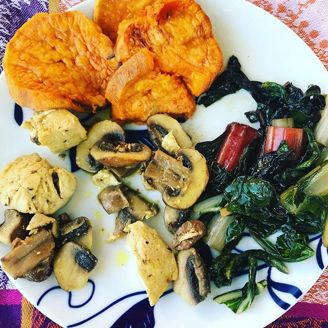 Easy gut friendly dinner!  Sautéed chicken. Sautéed Swiss chard. Mushrooms and sweet potatoes. We had apples and pears for dessert!