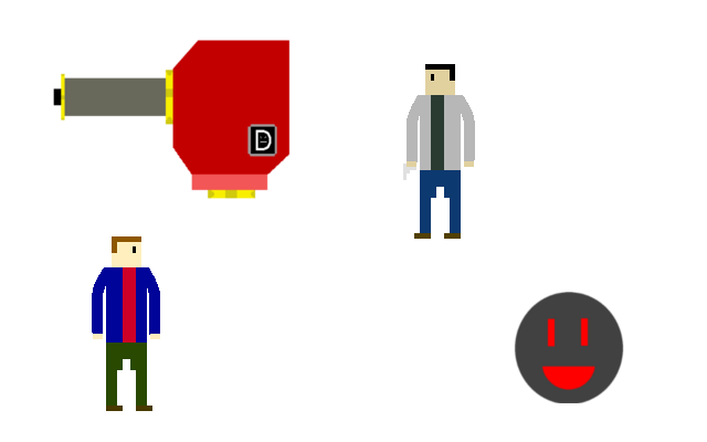 From top left to bottom right: Stationary turret, basic shooter, grenade, and Obsessor enemies in Detractor form
