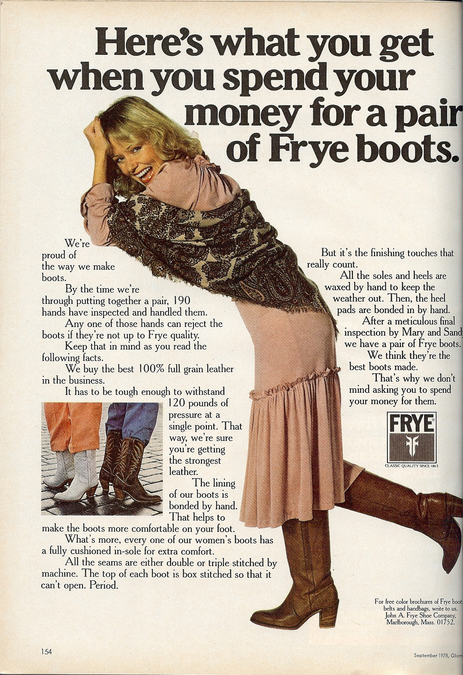 Frye boots ad from the 80s selling...a really well-made pair of boots