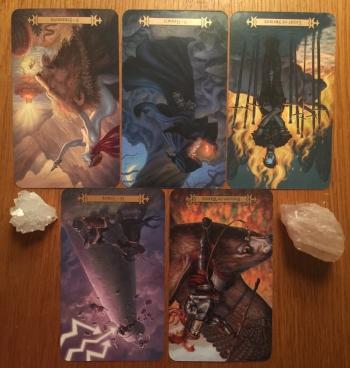 New Moon in Pisces tarot spread: Strength, reversed; Tower, reversed; Hermit, reversed; Knight of Wands, reversed; Eight of Swords, reversed