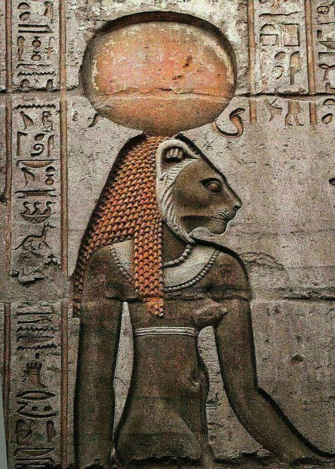 The Goddess Sekhmet from the wall of Kom Ombo Egypt