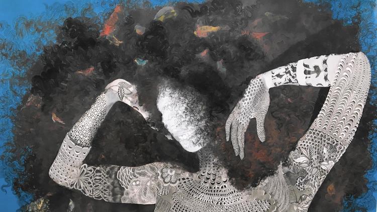 """""""Vessels of Genealogies"""" exhibit by Firelei Baez (Gallery Wendy Norris photo)"""