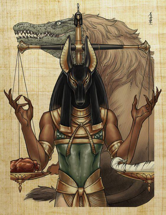 In the Hall of Two Truths, Anubis weighed the heart of a person against the feather of Ma'at, which was depicted as an ostrich feather. A heart judged to be impure was devoured by Ammit. The person undergoing judgement was not allowed to continue their voyage towards Osiris and immortality.